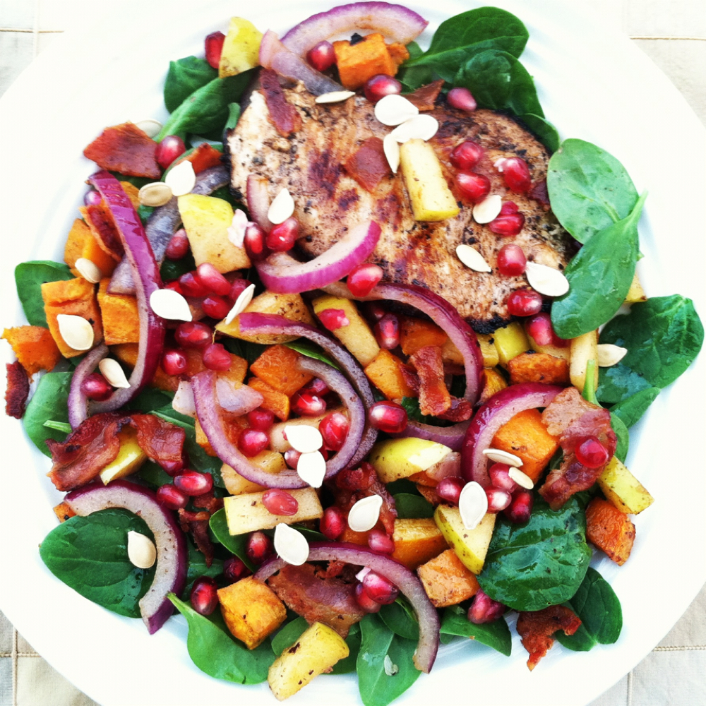 Autumn Grilled Chicken Spinach Salad with Warm Bacon Vinaigrette ...