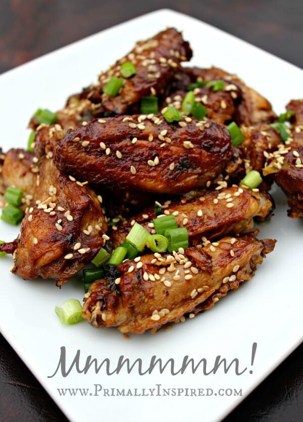 Crispy Oven Baked Chicken Wings - Asian Sesame www.PrimallyInspired ...